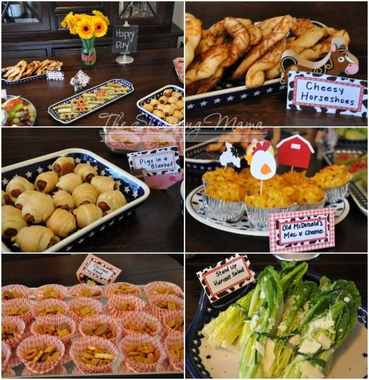 "The food was all simple and kid-friendly but adult yummy food with goofy farm-theme names. ""Cheesy Horseshoes"" = crunchy cheese breadsticks, ""Pigs in a Blanket"" = l'il smokies wrapped in crescent dough, ""Old McDonald's Mac & Cheese"" = macaroni and cheese cupcakes, ""Chicken Feed"" = portioned Chex Mix, ""Stand Up Harvest Salad"" = romaine ceasar salad wrapped with green onions."