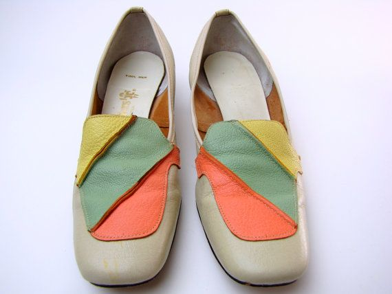 Vintage 1960s Square Toe Mod Leather Loafers