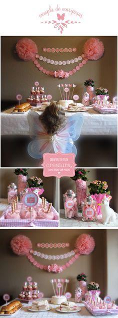 Mesas dulce de Mariposas en rosa y blanco / Dessert table butterfly pink & white
