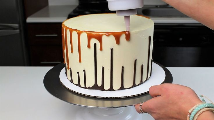 Upside down Double Drip Cake Recipe and Tutorial!! Because you shouldn't have to pick between caramel and chocolate!