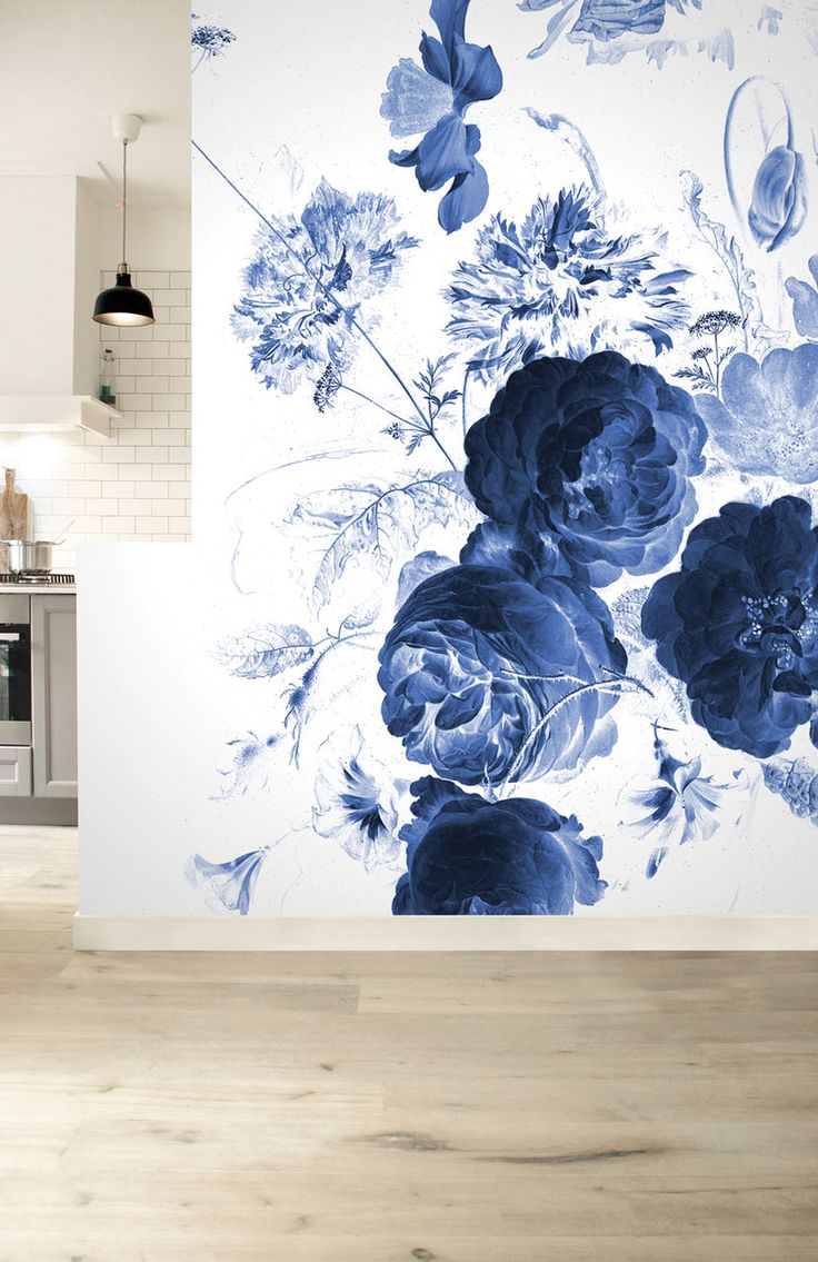 Royal blue and black bedroom - Royal Blue Flowers Wall Murals 8 Sheets Kek Amsterdam