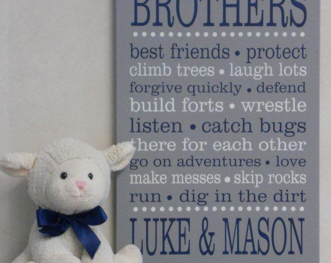 BROTHERS Personalized Sign Sibling Wall Art, Brothers Wall Decor,  Nursery Art, Playroom, Nursery Subway Art, Baby Boy Wall / Room Art Decor