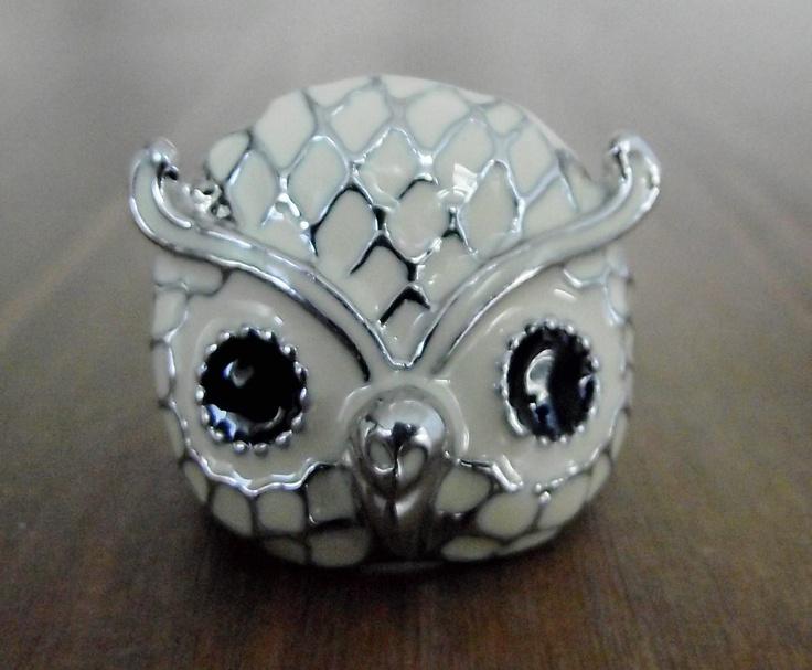 Enamel Owl Ring. $21.00, via Etsy.