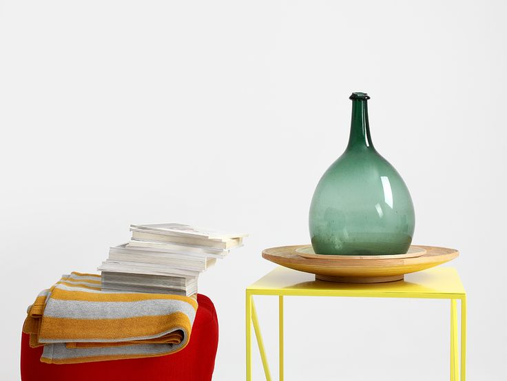 Coffe yellow table, made with love, industrial design.
