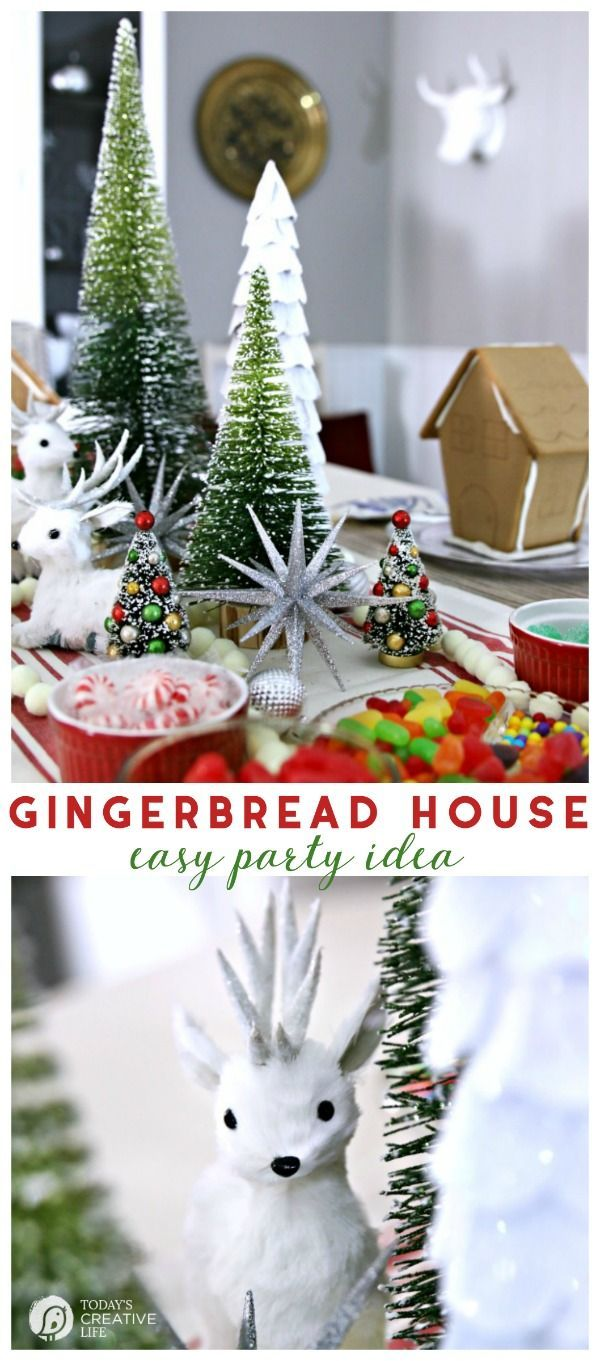 Gingerbread House Decorating Party | Christmas Party Ideas | Holiday Celebrations and Traditions | Christmas cookie and gingerbread house decorating party | TodaysCreativeLife.com #GiftThemJoy #ad
