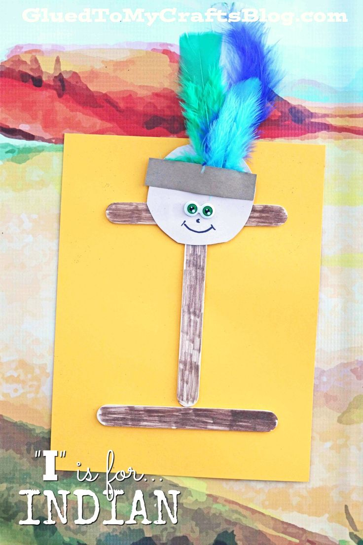 """I"" is for Indian - Kid Craft Idea - Native American Craft - Fall Craft - Popsicle Stick Indian Kid Craft"