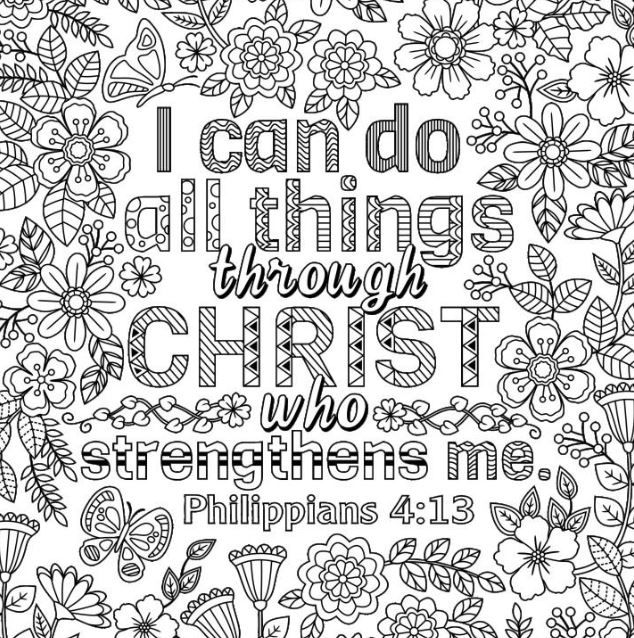 Two Inspirational Coloring Pages I Can Do All Things Etsy In 2021 Bible Coloring Pages Love Coloring Pages Coloring Pages