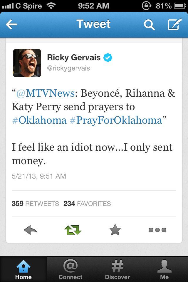 Ricky Gervais nails it again. Oh Ricky you cheeky bastard!