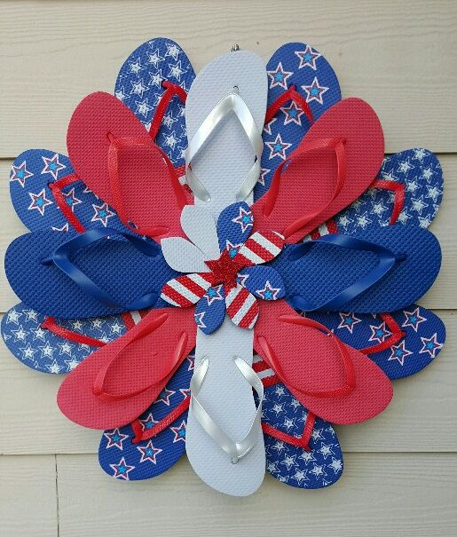Handmade Patriotic Flip Flop Wreath Door Wall by TheFlipFlopDaisy