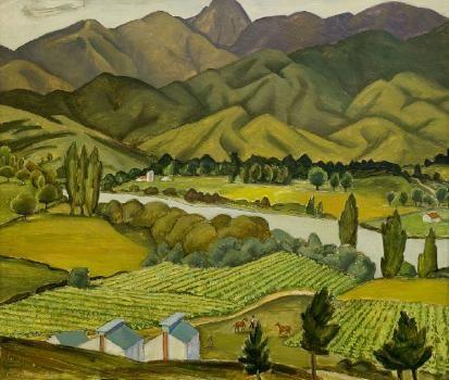 Doris Lusk (NZ) Tobacco Fields, Pangatotara, Nelson Auckland Art Gallery Collection