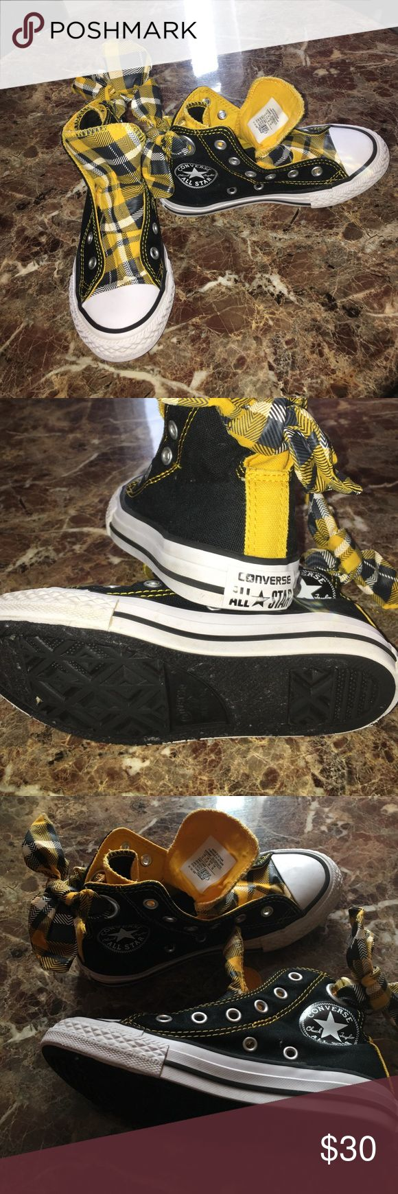 Converses Black and yellow and white converses Chuck Taylor All-Stars for girls size (12) kids /Used in good condition Converse Shoes Sneakers