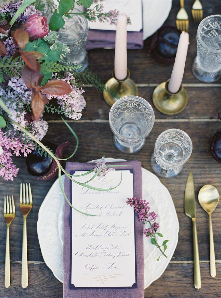 La Tavola Fine Linen Rental: Tuscany Plum Napkins | Photography: Jessica Burke, Floral Design: Studio Mondine, Planning And Design: Cassy Rose Events