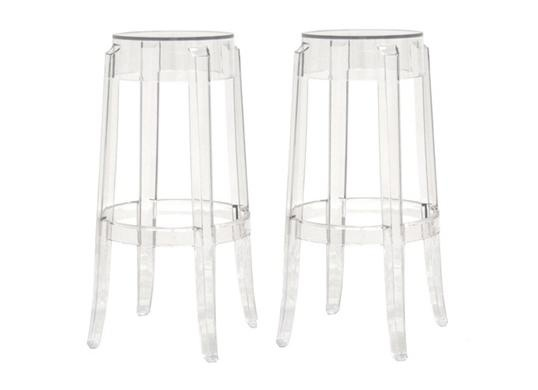 ghost stools bettino clear acrylic bar height bar stools set of 2