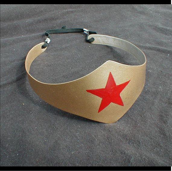 Wonder Woman tiara. Etsy listing at https://www.etsy.com/listing/129155092/wonder-woman-costume-tiara