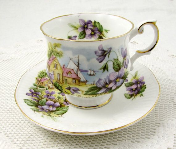 New Brunswick Tea Cup and Saucer with Ocean Scene and Purple Violets, Queen's Rosina China