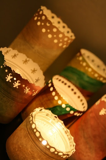 Making candle holders out of your children's recycled art