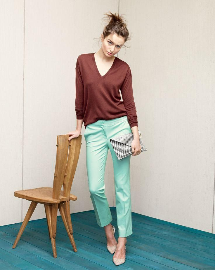 "J.Crew Campbell capri in stretch cotton. ....turquoise + ""warm redwood"" cashmere BF v-neck"
