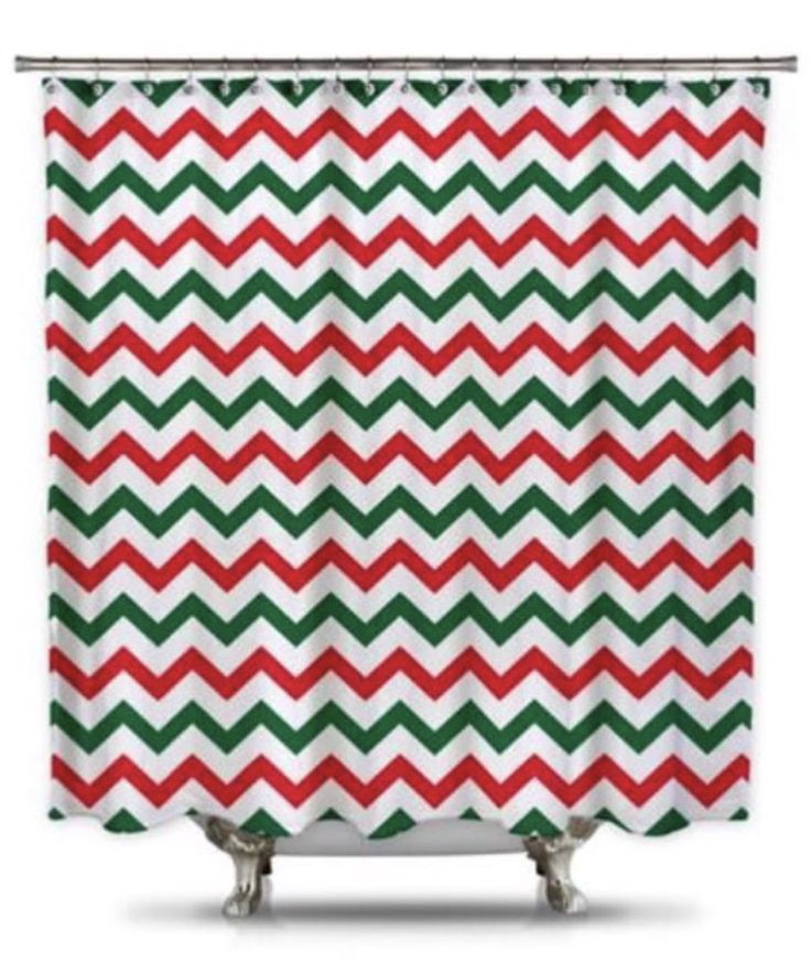 Cyber MONDAY means you should decorate your bathroom for Christmas, too, with our red and green Chevron shower curtain!
