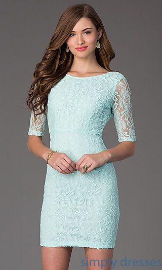 Short Scoop Neck Lace Dress with Half Sleeves at SimplyDresses.com