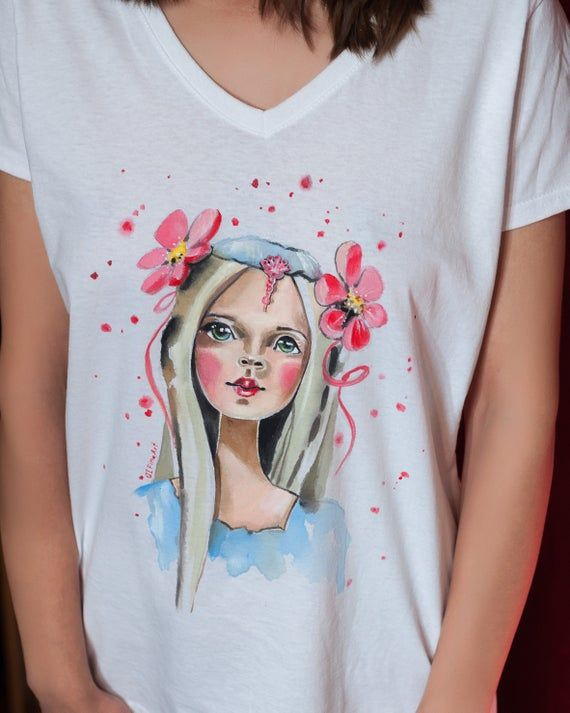 Hand Painted T Shirt Stylized Painted Girl Watercolor Effect