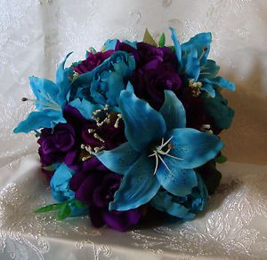 Teal Flowers For Weddings Turquoise Purple Wedding Bouquet Bridal