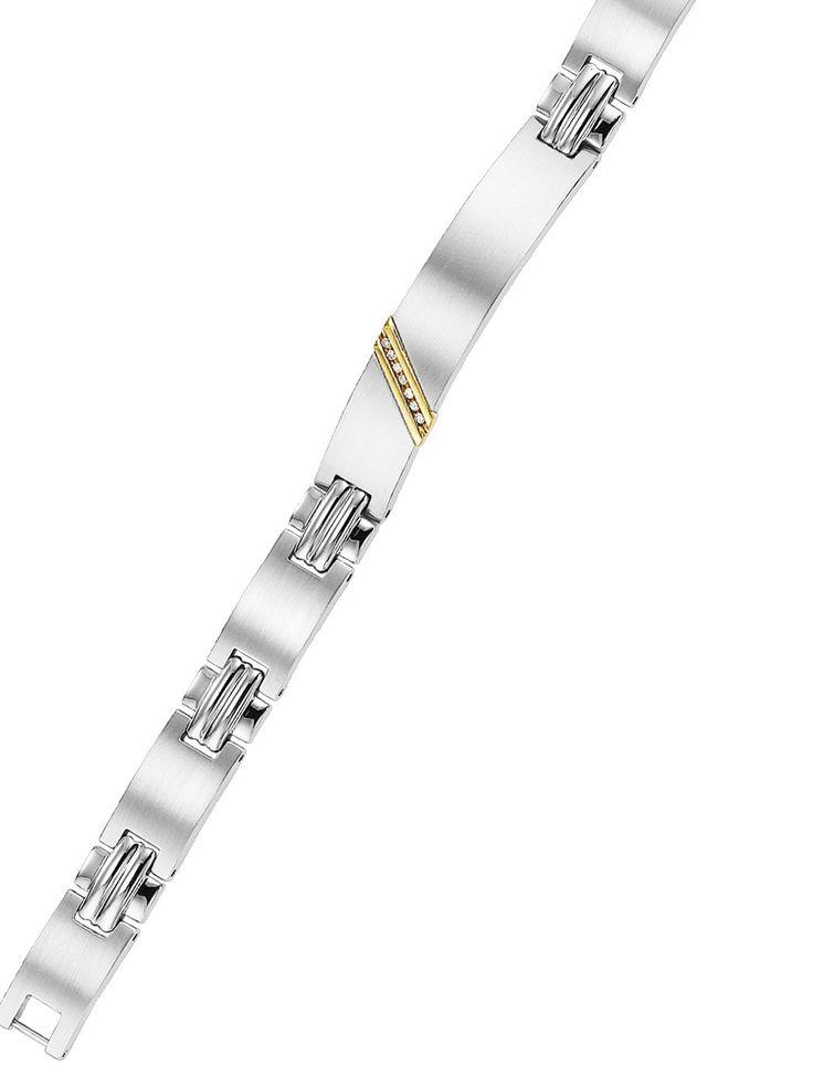 Men's Diamond Bracelet in Stainless Steel & Gold