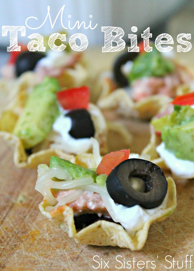 Mini Taco Bites - The perfect snack for your New Years Party! From Sixsistersstuff.com
