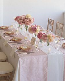 Something like this for the long tables in the back but using our wedding flowers/colours