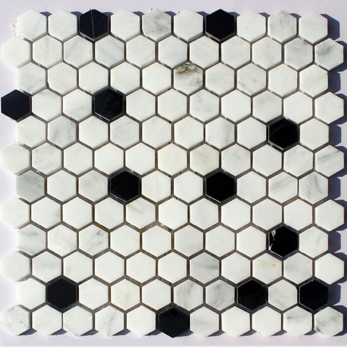 marmer materiaal mozaïek van kleine zwarte en witte zeshoekige pilaren decor tegels spellen yimei jia(China (Mainland))