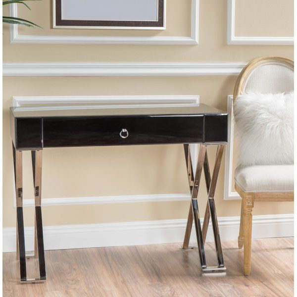 This Glass Desk Is The Perfect Desk For Any Small Space With Chrome Finished Cross Legs This Modern Desk Will Com Home Furniture Rustic Living Room Furniture