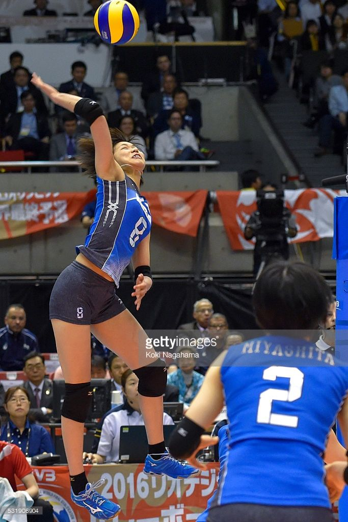 Sarina Koga #8 of Japan spikes the ball during the Women's World Olympic Qualification game between South Korea and Japan at Tokyo Metropolitan Gymnasium on May 17, 2016 in Tokyo, Japan.