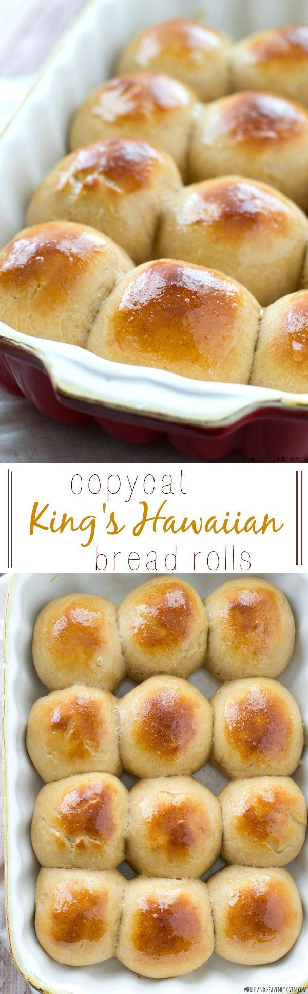 Love King's Hawaiian bread rolls? Once you try them homemade, you'll never go back to storebought again. So easy to make and so soft inside you won't be able to stop eating them! @WholeHeavenly