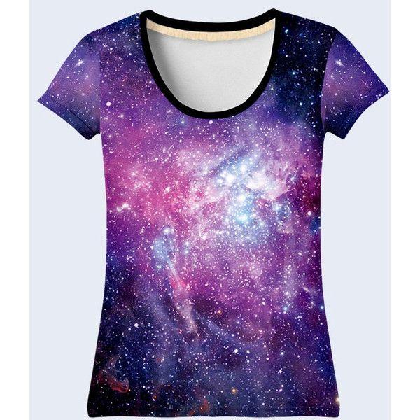 Galaxy T Shirt, Space Shirt, Purple Tee Shirt, Tee, Womens Shirts,... ❤ liked on Polyvore featuring tops, t-shirts, t shirt, purple t shirt, multi color t shirts, galaxy shirt and tie shirt
