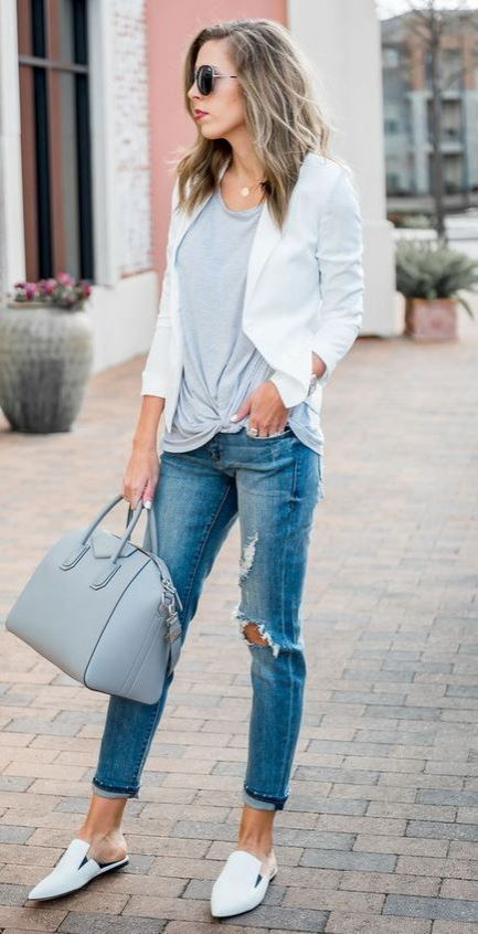 638a5bf67b9d Cute Summer Outfit Idea For Work White Blazer Plus Grey Bag Plus Loafers  Plus Rips Plus Top