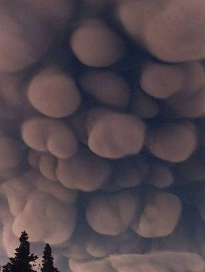 "This is the rare meteorological phenomenon known as a mammatus clouds or ""bubble"" clouds."