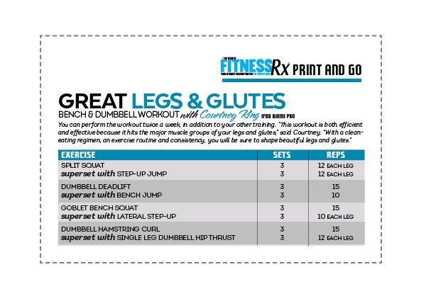 Approach The Bench For Great Legs & Glutes: Shape up using just a bench & dumbbells. Print and Go!