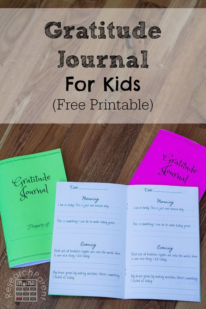 Free printable gratitude journal for kids. Includes daily reflection questions for morning and evening that promote thankfulness, kindness, thoughtfulness, resilience, and grit.  via @researchparent