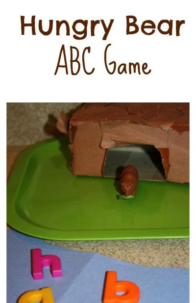 """Hungry Bear ABC Game - Pretty cute. Might do it. Could be good if the bear is only """"hungry"""" for the letter B so as not to add too much confusion for them? Or could do color pom poms? We'll see."""