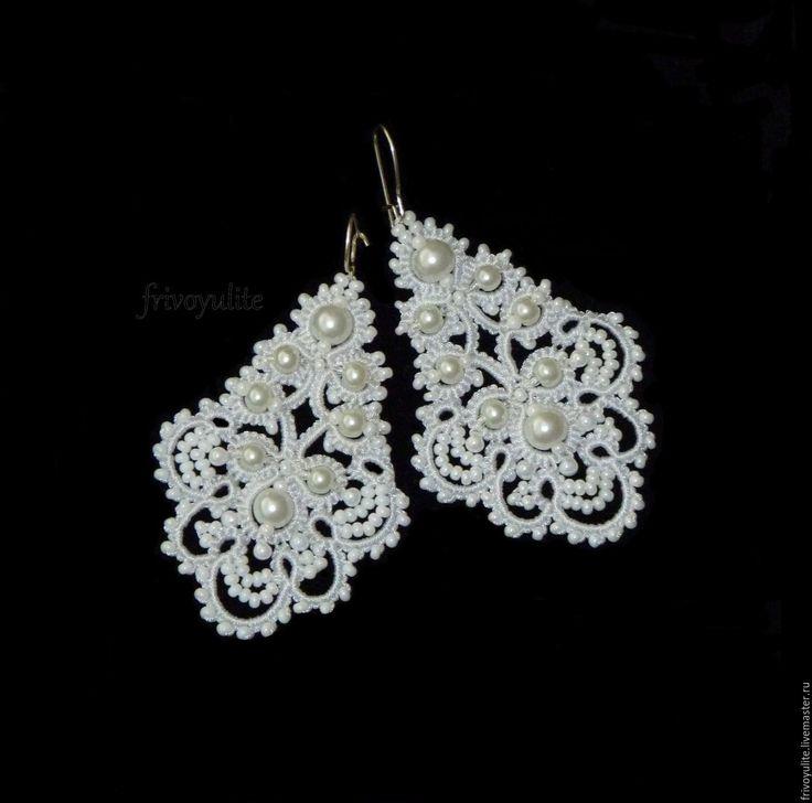 Купить Длинные белые серьги Царевна-Лебедь. Свадебные белые серьги айвори