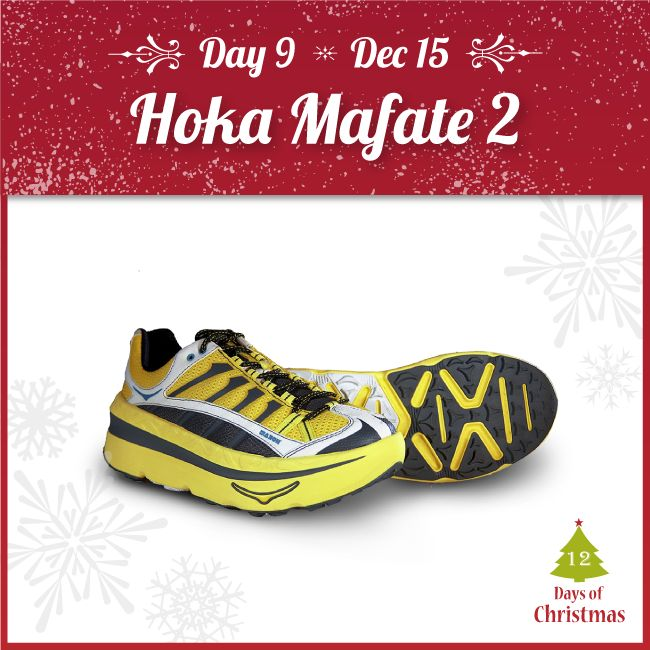 Looking to bring a smile to the trail runner in your life?  When it comes to comfort and injury prevention, these Hoka OneOne Mafate 2's are up to the job with its maximum cushioning and protection! ONLY TODAY @ $94.94 (Regular $169.95)!  Find them in-store or in our webstore here: http://kint.ec/Day9Mafate2  USE CODE: XMAS9
