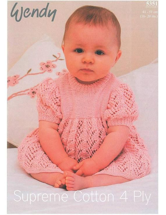 baby knitting pattern baby yoked dress 16 20 in chest  4ply