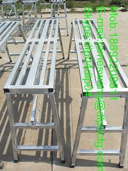 Household ladder hinge folding stool under scaffolding collapse herringbone bamboo folding scaffold ladder scaffold ladders Long=55.12inch Wide=11.81inch Height=27.56inch Weight capacity 225 lbs Material:Steel A53GR.B/A106GR.B Surface:Galvanized;Silver or as per clients' requirement. Used for: Construction Painting Use as a saw horse Portable workbench table Warehouse work Work platform