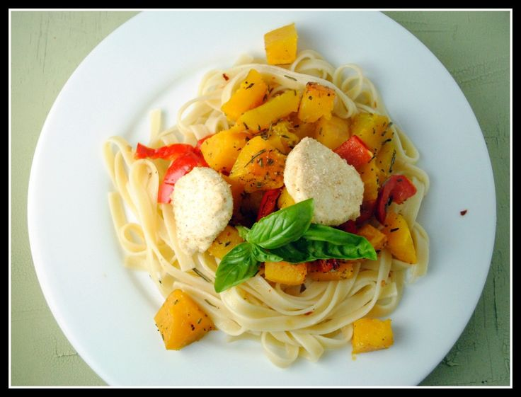 baked goat cheese and roasted winter squash overly garlicky fettuccine