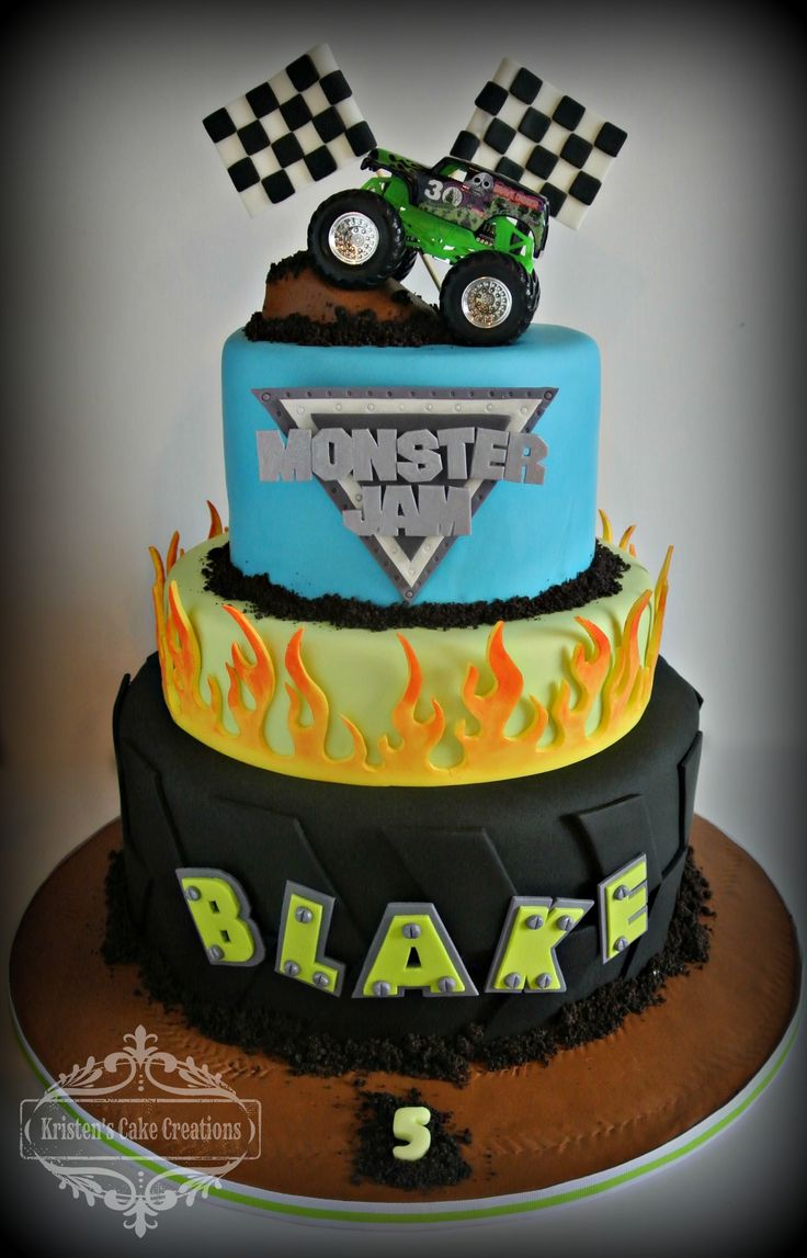 Monster Truck cake with flames 3 tier boys birthday