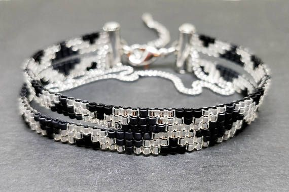 Black & silver colors loomed bracelet Wrap loom beaded