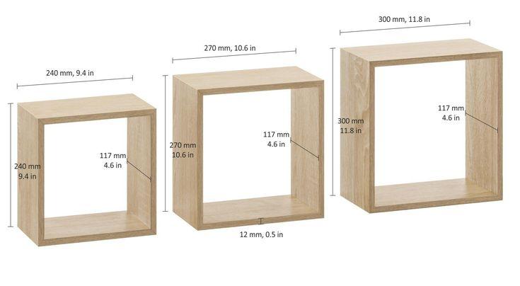 FRAME Regalwürfel Set - 3 Stck | 30x11,7x30 cm | eiche