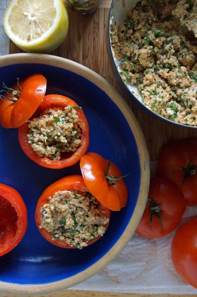 Quinoa and tuna stuffed tomatoes