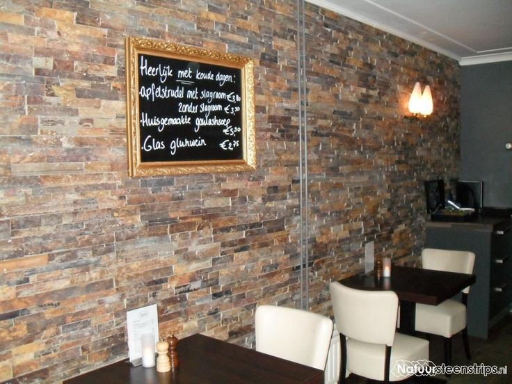 Rustieke Lei wandbekleding Grand Café Jipp te Ommen. De eigenaar heeft de strips zelf gezet.