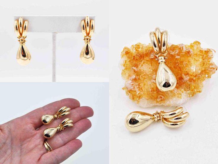 Vintage 14K Yellow Gold Doorknocker Pierced Earrings, 585, Fluted, Teardrop, Post Style, Dangle, Drop, 4.8 Grams, Fabulous! #c244