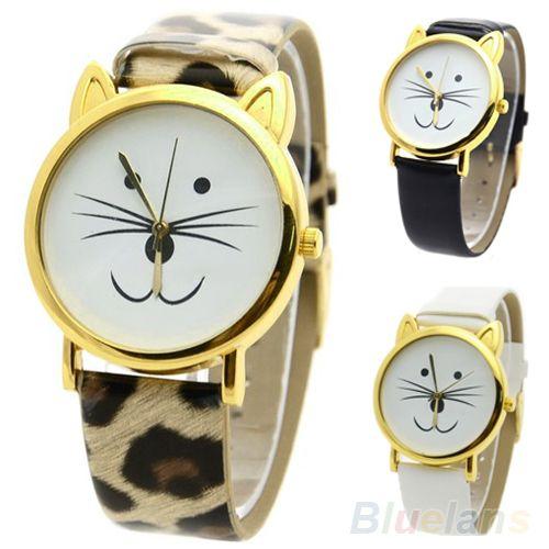 lindo gato bonito face forma meninas mostrador aro de cor ouro barba liga cinta de couro falso presente relógio para mulheres US $2.57